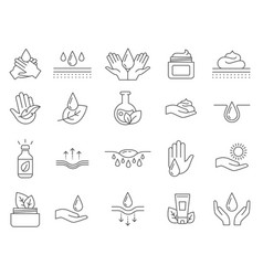 skin care icons outline anti age lifting cream vector image