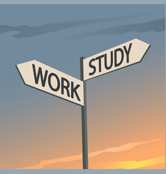 study or work indication sign vector image