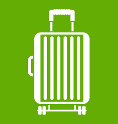 suitcase on wheels icon green vector image