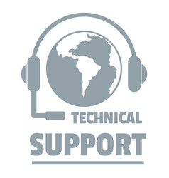 Technical support logo simple gray style vector