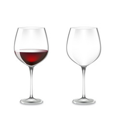 Transparency wine glass vector