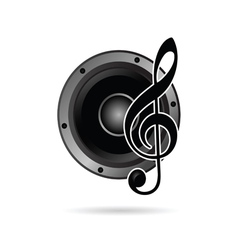treble clef with speaker icon vector image