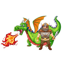 Viking and dragon vector