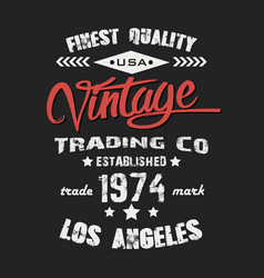 vintage print design on t-shirt vector image