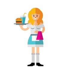 Waitress Flat style colorful Cartoon vector