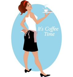 Waitress with coffee and biscuits vector