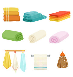 White and colored soft bathe or kitchen towels vector