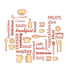 Word collage for kitchen and cooking vector