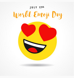 World emoji day heart emoticon banner vector