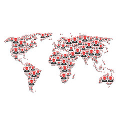 Worldwide map pattern of devil icons vector