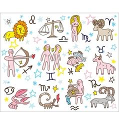 Zodiac icons doodles set vector image