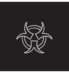 Bio hazard sign sketch icon vector image