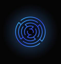 Blue round maze icon vector
