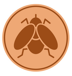 Fly insect bronze coin vector