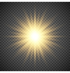 Gold glowing light burst explosion on transparent vector image