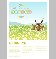 Hello spring landscape background with deer family vector image