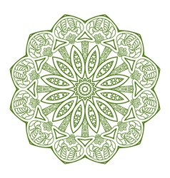 round ornament in green color vector image