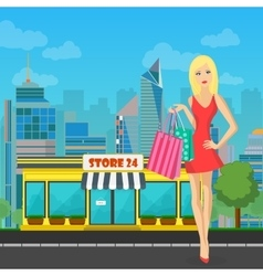 shopping woman girl with bags near Store in vector image
