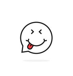 thin line foodie emoji speech bubble logo vector image vector image