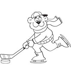 Cartoon bear playing hockey vector