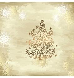 golden tree christmas vector image vector image