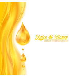 Honey colors juicy background with drops vector image