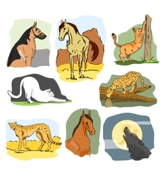 set of wild and home animals Hand drawn vector image vector image