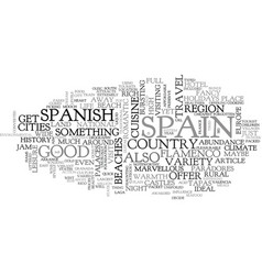 a quick tour of spain text word cloud concept vector image vector image