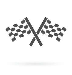 crossed finish flags icon vector image