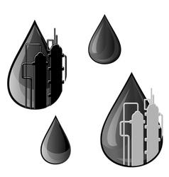 oil and gasoline symbols vector image vector image