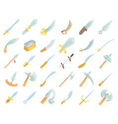 sword icon set cartoon style vector image vector image