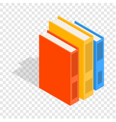 vertical stack of colorful books isometric icon vector image
