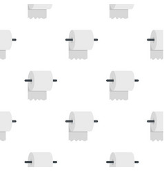 White roll of toilet paper on a holder pattern vector