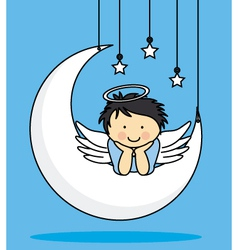 Angel on a Moon vector image