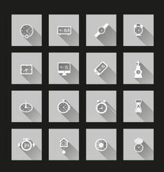 Clock icons long Shadow vector image vector image