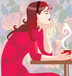 girl in red with a coffee cup vector image vector image