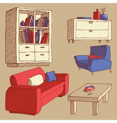 sketches of furniture vector image vector image