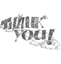 THANK YOU sketchy doodles vector image vector image