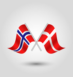 two crossed norwegian and danish flags vector image vector image