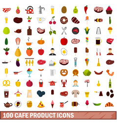 100 cafe product icons set flat style vector image