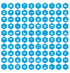 100 scenery icons set blue vector