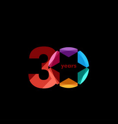 30 year anniversary diamond star template design vector