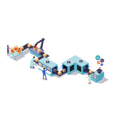 3d isometric employee pack boxes at conveyor work vector image
