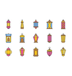 arab lamp or ramadan lantern filled outline icon vector image