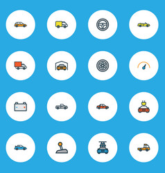 Auto icons colored line set with auto shed vector