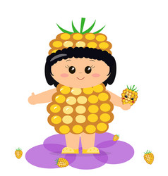 baby in the costume of a yellow raspberry vector image