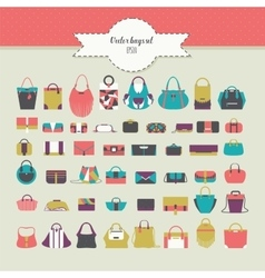 Big beautiful bundle with flat women bags in vector