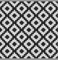 black and white rhombuses mosaic seamless pattern vector image
