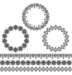Black circle frames and border patterns vector