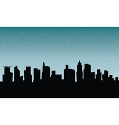 Building silhouette at the night vector